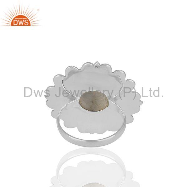 Wholesalers Rainbow Moonstone Round Oxidized 925 Silver Cocktail Ring Jewellery