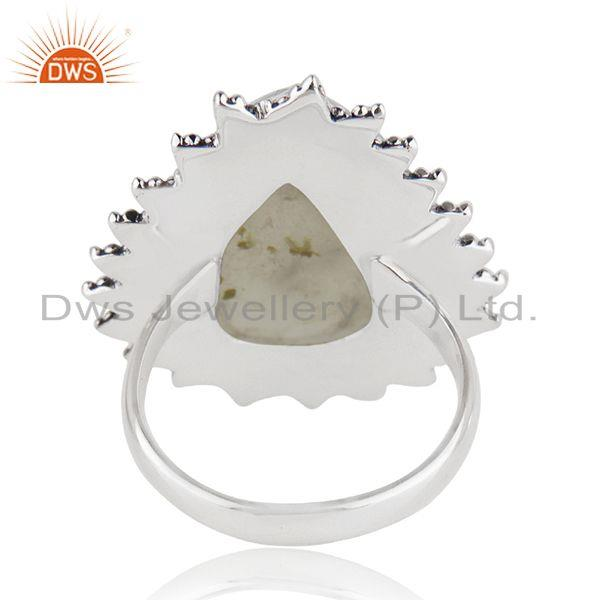 Wholesalers Natural Prehnite Gemstone Silver Oxidized Ring Jewelry