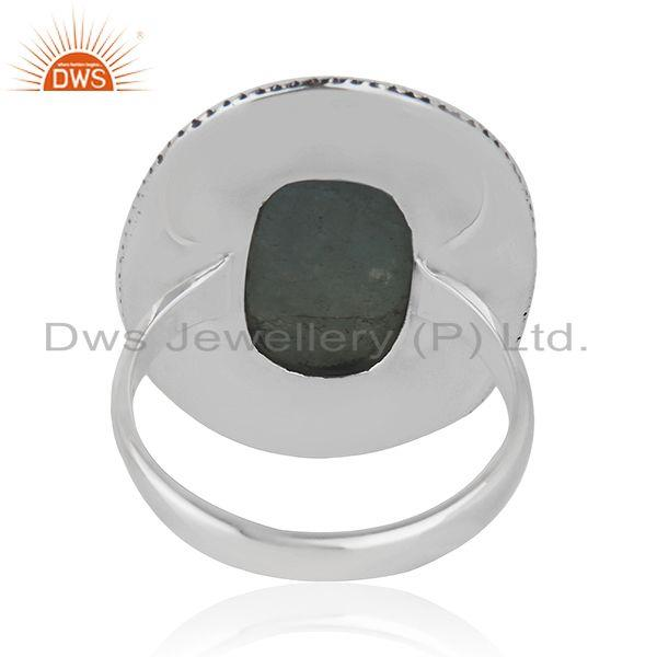 Wholesalers Natural Aquamarine Gemstone Sterling Silver Oxidized Ring Jewelry