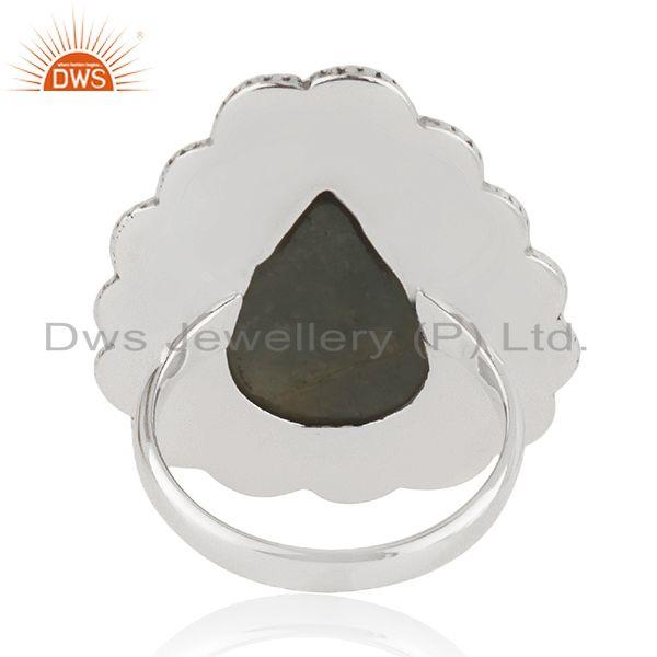 Wholesalers Aquamarine Gemstone Sterling Silver Oxidized Ring Jewelry