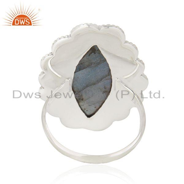 Wholesalers Natural Labradorite Gemstone 92.5 Oxidized Sterling Silver Handcrafted Rings