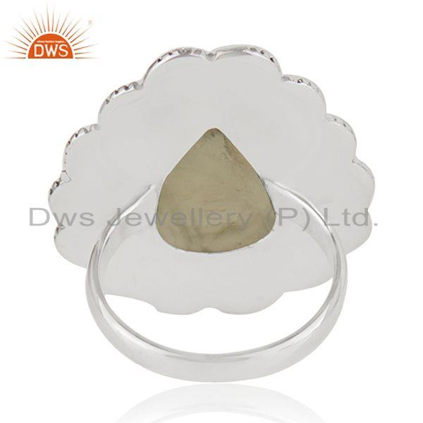 Wholesalers Wholesale Prehnite Gemstone Oxidized Silver Ring Jewelry