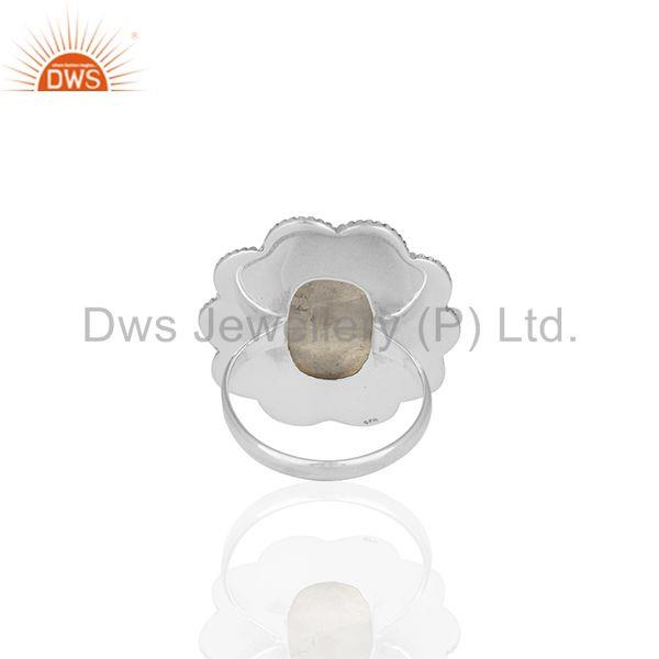 Wholesalers Handmade Floral Design Sterling 92.5 Silver Rainbow Moonstone Ring Jewellery