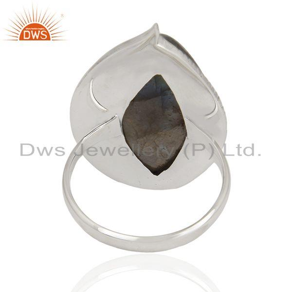 Wholesalers Labradorite Gemstone Oxidized 925 Sterling Silver Statement Ring Supplier India