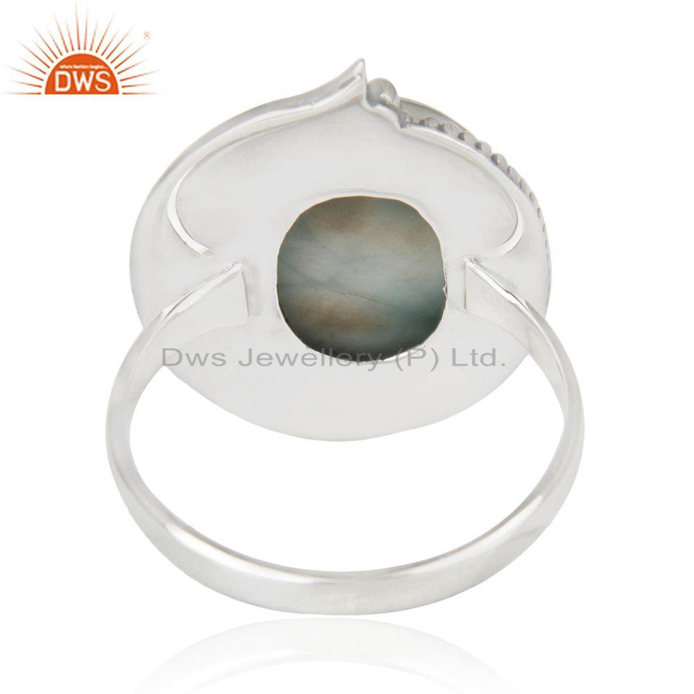 Wholesalers Larimar Gemstone 92.5 Sterling Silver Cocktail Ring Jewelry Wholesale