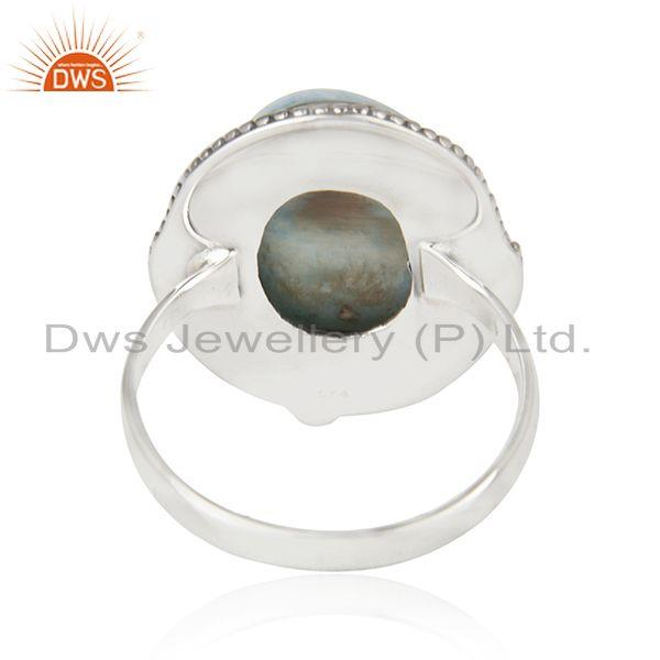 Wholesalers Larimar Gemstone Oxidized 925 Sterling Silver Statement Ring Wholesalers Jaipur