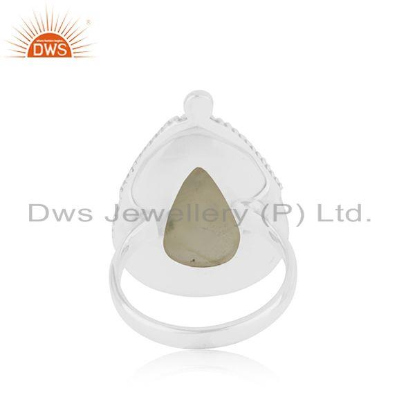 Wholesalers Natural Prehnite Gemstone Oxidized Silver Ring Jewelry