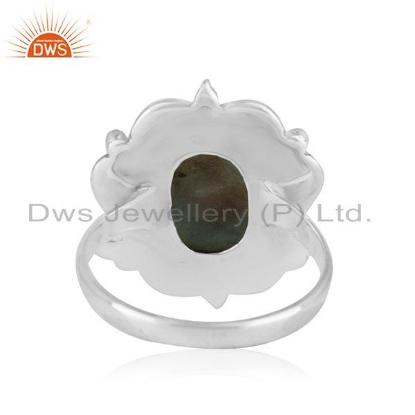 Wholesalers Natural Larimar Gemstone Oxidized Sterling Silver Designer Ring Wholesalers Jaipur