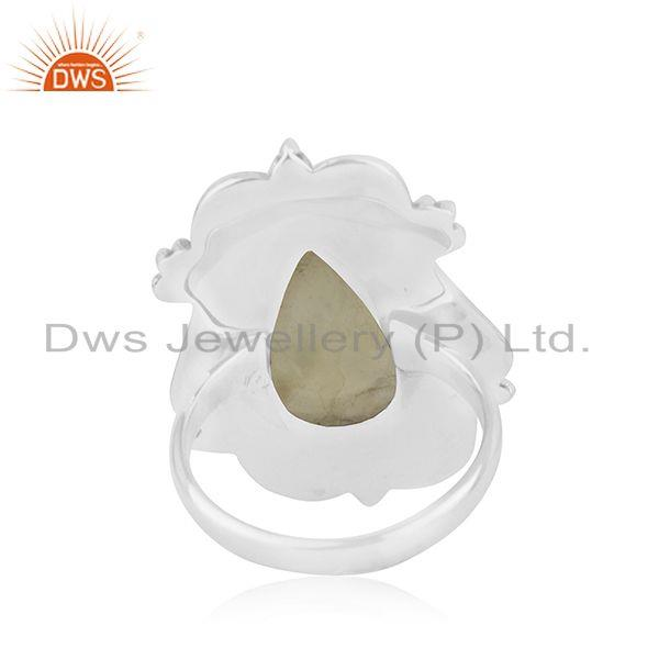 Wholesalers New Arrival Prehnite Gemstone Oxidized Silver Ring Jewelry