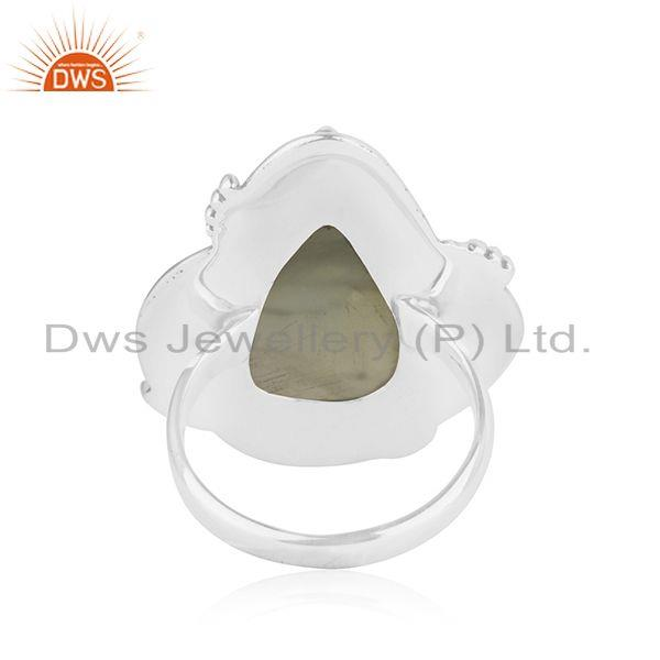 Wholesalers Prehnite Gemstone Designer Oxidized Sterling Silver Ring Jewelry