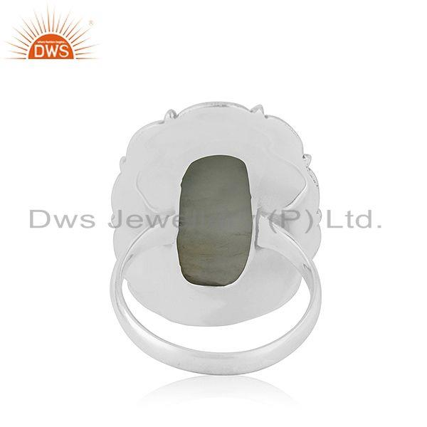 Wholesalers New Oxidized Sterling Silver Prehnite Ring Jewelry
