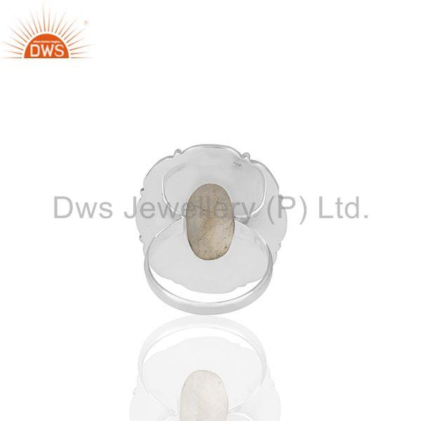 Wholesalers Solid 925 Silver Oxidized Rainbow Moonstone Cocktail Rings Manufacturers