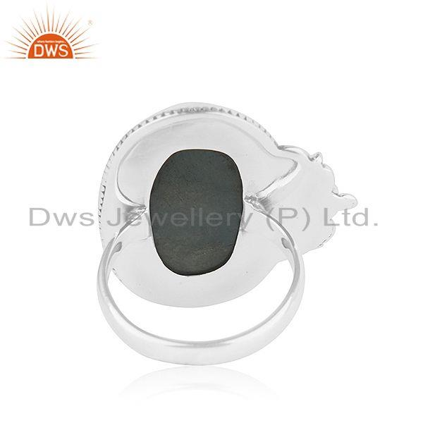 Wholesalers Oxidized Designer Silver Aquamarine Stone Ring Jewelry Supplier