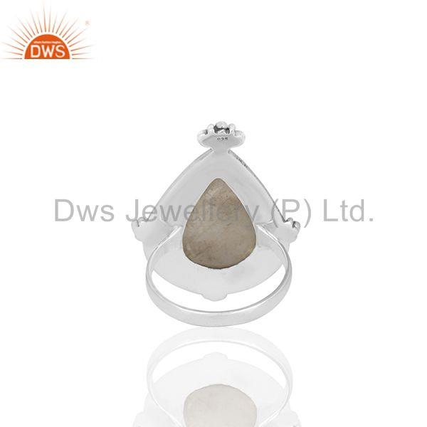 Wholesalers Natural Rainbow Moonstone Oxidized 925 Sterling Silver Cocktail Ring Supplier