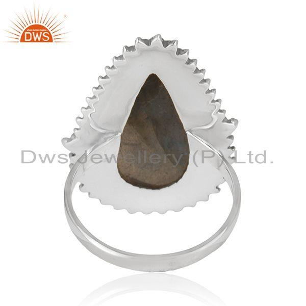 Wholesalers Labradorite Gemstone Oxidized 925 Silver Designer Ring Manufacturer of Jewelry