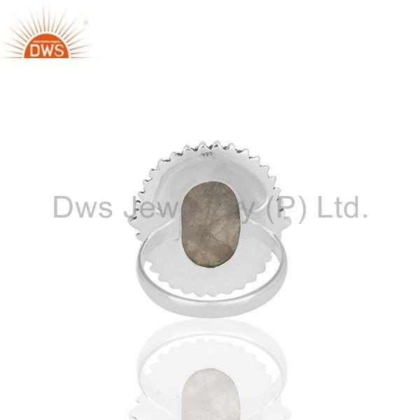 Wholesalers Bezel Set Rainbow Moonstone Oxidized Solid 925 Silver Cocktail Rings Supplier