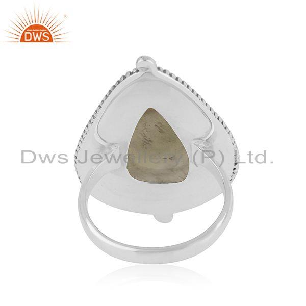 Wholesalers Prehnite Stone Sterling Silver Oxidized Ring Jewelry