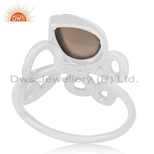 Wholesalers Smoky Quartz 925 Sterling Silver Designer Girls Ring Wholesalers India