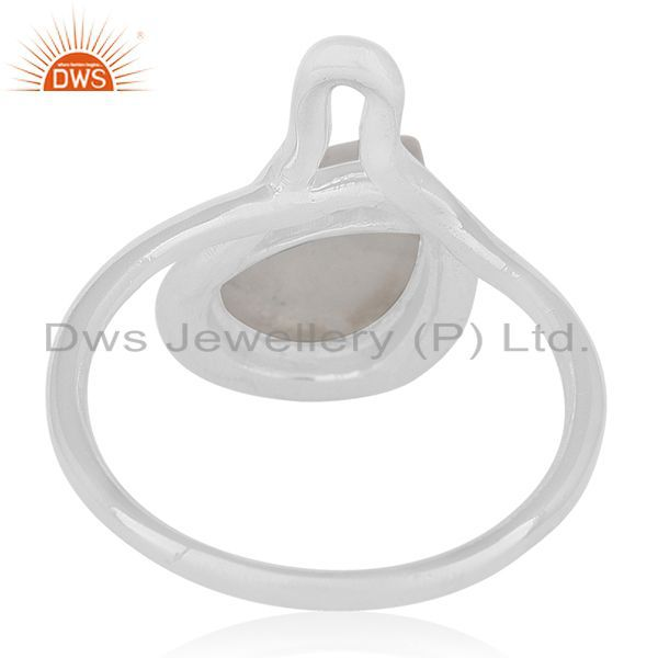 Wholesalers White Rhodium Plated Silver Rainbow Moonstone Ring Jewelry Supplier