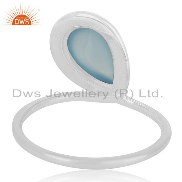Wholesalers Blue Chalcedony Gemstone Sterling Silver Designer Ring Jewerly Wholesale