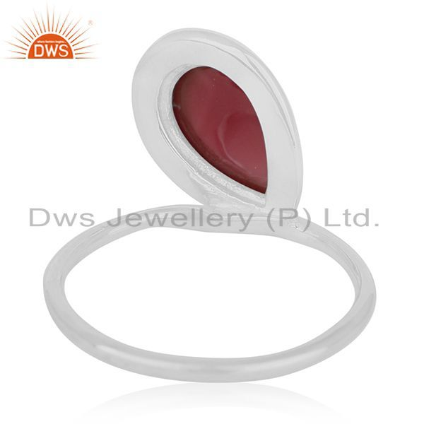 Wholesalers Red Onyx Gemstone Sterling Silver Ring Private Label Jewelry For Brands
