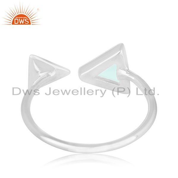 Wholesalers Multi Triangle Adjustable 925 Silver Gemstone Ring Jewelry For Women