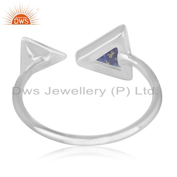 Wholesalers Lapis Lazuli Gemstone 925 Silver Adjustable Ring Jewelry Supplier