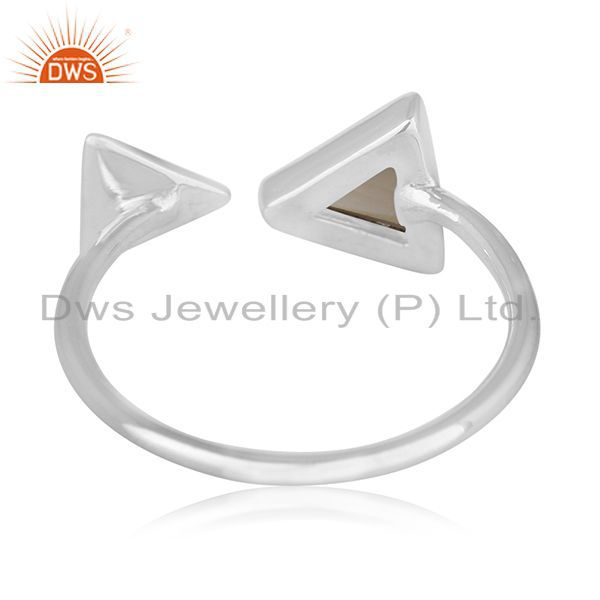 Wholesalers Triangle Shape Smoky Quartz 925 Sterling Silver Gemstone Adjustable Ring Jewelry