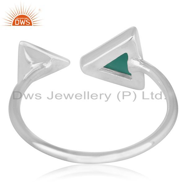 Wholesalers Adjustable 925 Silver Green Onyx Gemstone Ring Jewelry Manufacturer