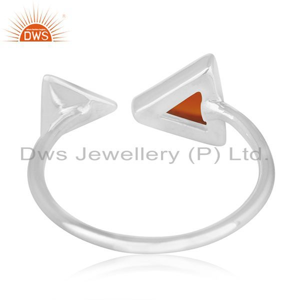 Wholesalers 925 Sterling Silver Red Onyx Gemstone Triangle Ring Manufacturer of Jewellery