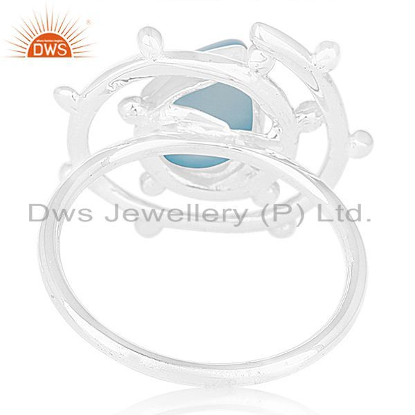Wholesalers New Arrival 925 Silver Blue Chalcedony Gemtone Cocktail Ring Wholesale