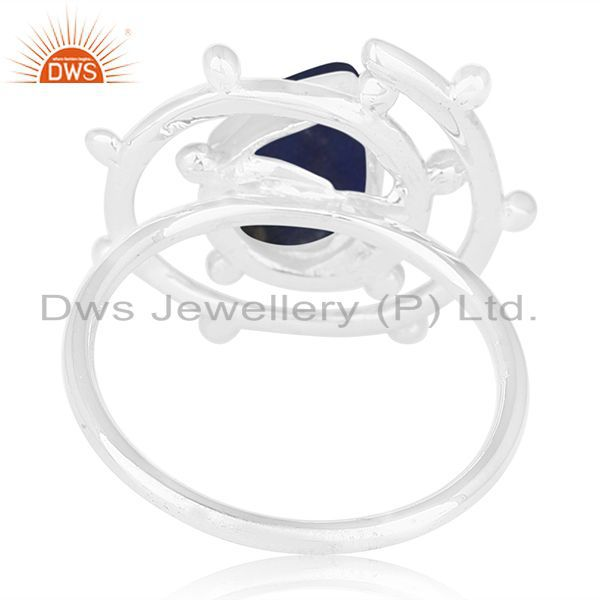 Wholesalers Lapis Lazuli Gemstone Sterling Silver Cocktail Ring Manufacturer of Jewellery