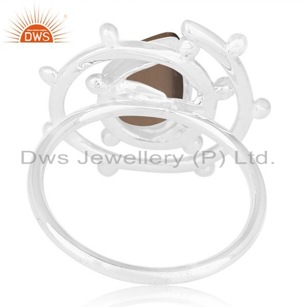 Wholesalers Smoky Quartz Gemstone 925 Sterling Silver Cocktail Ring Manufacturer from Jaipur