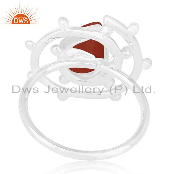 Wholesalers Red Onyx Gemstone 925 Sterling Silver Indian Designer Cocktail Ring Manufacturer