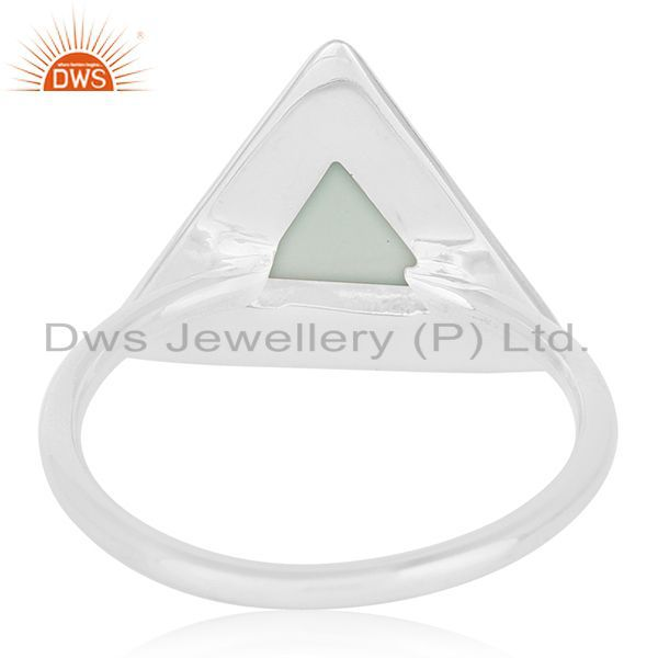 Wholesalers Customized Triangle Shape Sterling Silver Gemstone Ring Manufacturer from India