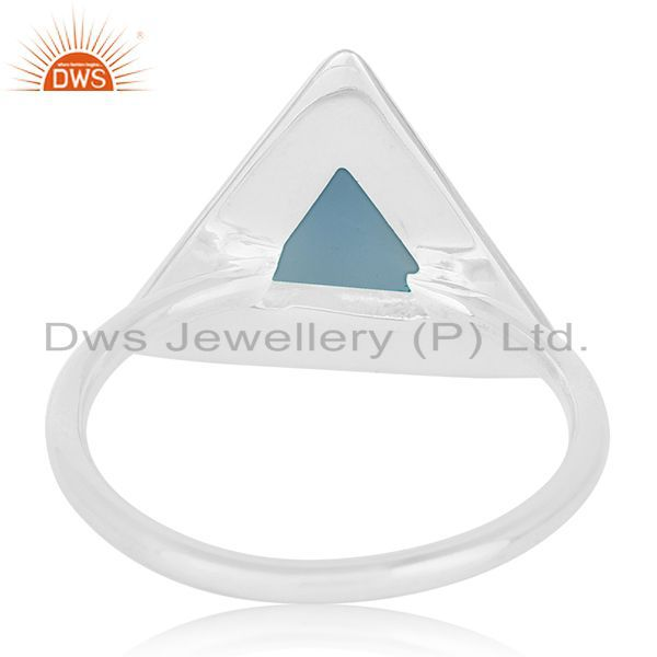 Wholesalers Blue Chalcedony Gemstone Triangle Shape Sterling Silver Custom Ring Manufacturer