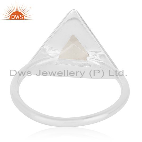 Wholesalers Clear Crystal Quartz Triangle Design 925 Silver Ring Jewelry