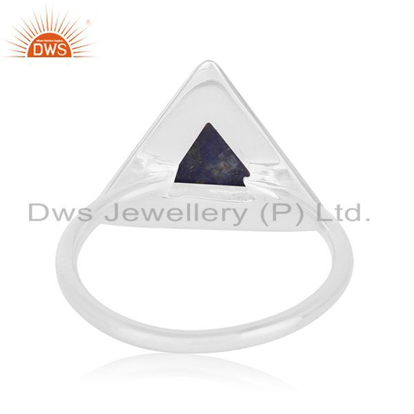 Wholesalers Lapis Lazuli Gemstone Triangle 925 Silver Ring Manufacturer for Brands