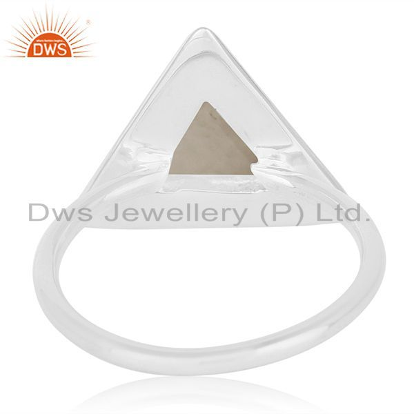 Wholesalers Rainbow Moonstone Sterling Silver Triangle Custom Ring Manufacturer