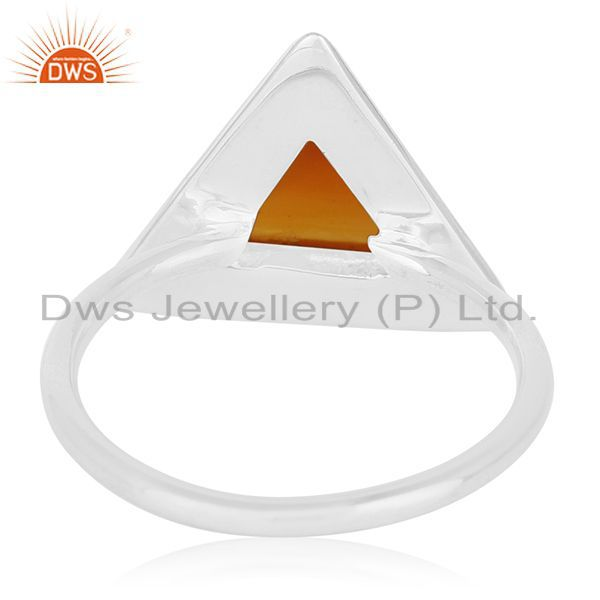 Wholesalers Carnilian Chalcedony Gemstone 925 Silver Triangle Ring Wholesale