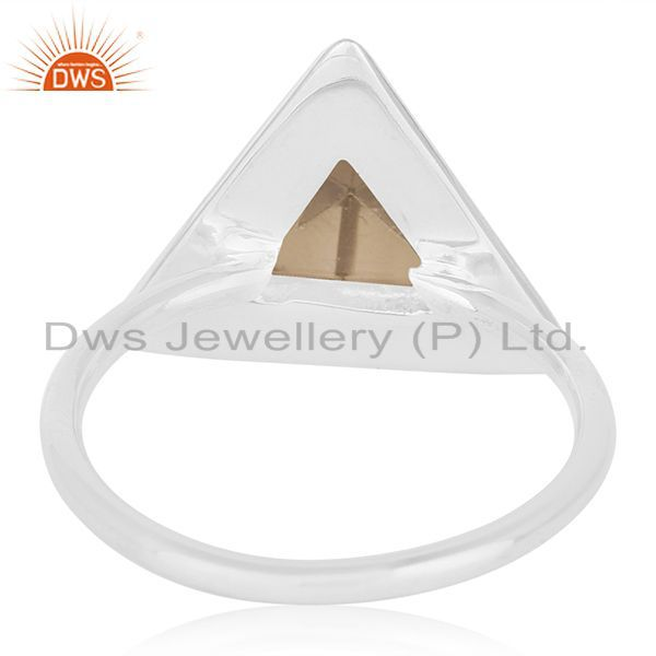 Wholesalers Triangle Shape 925 Silver Smoky Quartz Ring Custom Ring Wholesalers