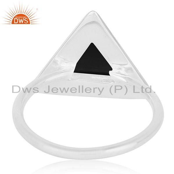 Wholesalers Natural Black Onyx Gemstone Triangle Design 925 Silver Ring Jewelry