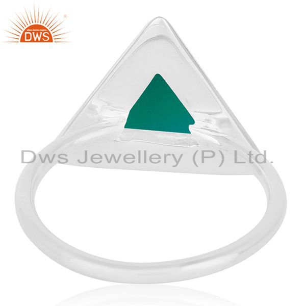 Wholesalers Green Onyx Bezel Set Gemstone 92.5 Silver Ring Jewelry Manufacturer