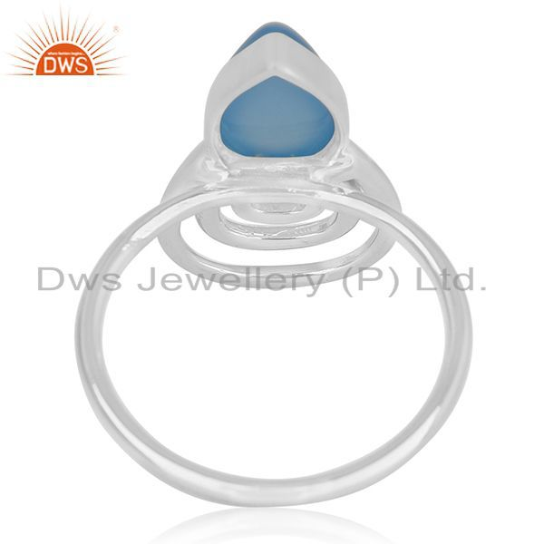 Wholesalers Blue Chalcedony Gemstone 925 Silver Ring Wholesale Supplier India