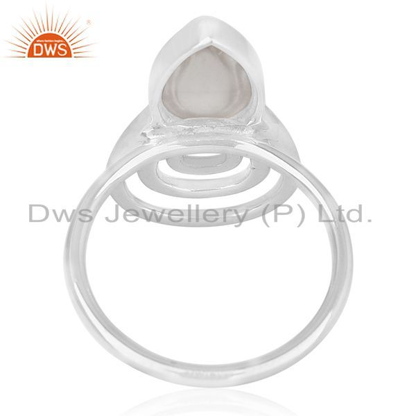 Wholesalers Crystal Quartz White Rhodium Plated 925 Silver Customized Ring Jewelry