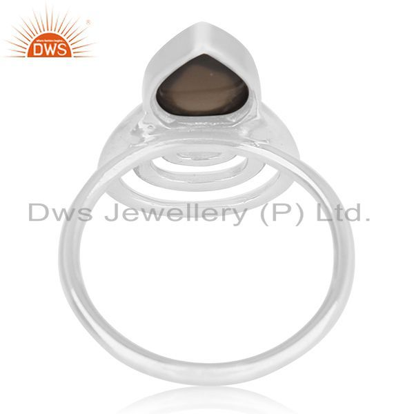 Wholesalers Smoky Quartz 925 Sterling Silver Designer Ring Custom Jewelry Supplier