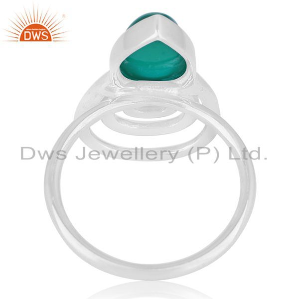 Wholesalers Green Onyx Gemstone 925 Sterling Silver Private Label Ring Wholesale