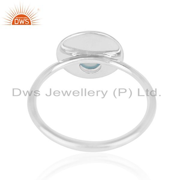 Wholesalers 92.5 Silver White Rhodium Plated Blue Chalcedony Gemstone Simple Ring