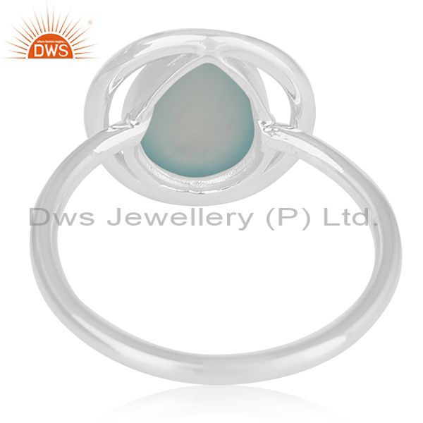Wholesalers Aqua Chalcedony Gemstone 925 Silver Private Label Ring Manufacturer