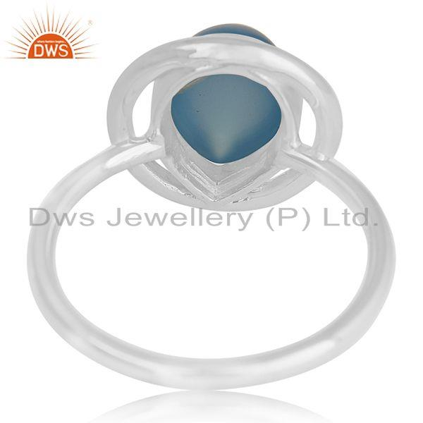 Wholesalers Chalcedony Blue Gemstone Fine Sterling Silver Ring Manufacturer